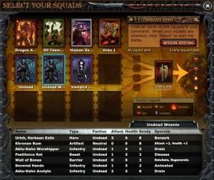 Choosing squads for battle