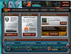Warstorm Main Screen